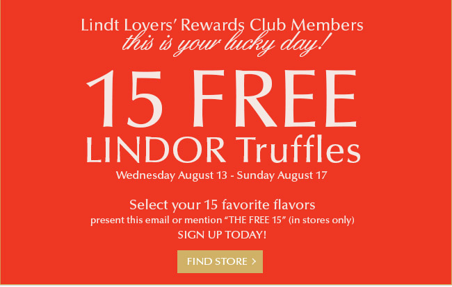 Free gift to Lindt Lovers' Rewards Club members